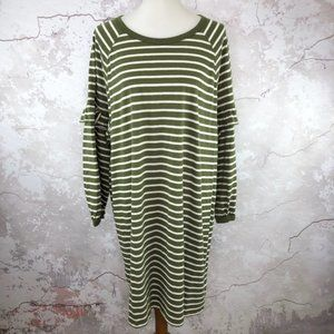 GAP Olive Green Stripe Long Sleeve Dress XXL